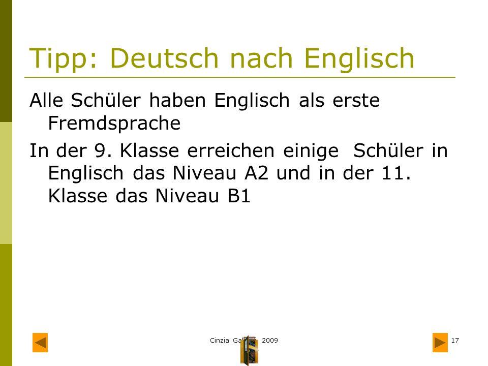 Tipp: Deutsch nach Englisch
