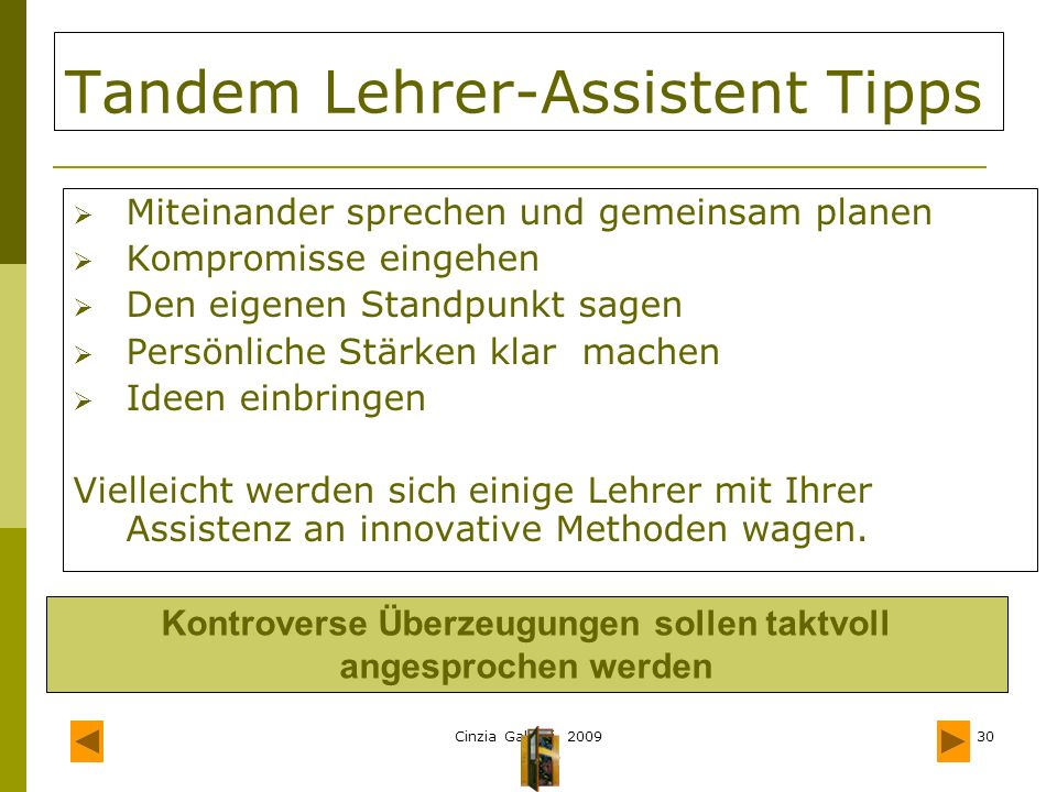 Tandem Lehrer-Assistent Tipps