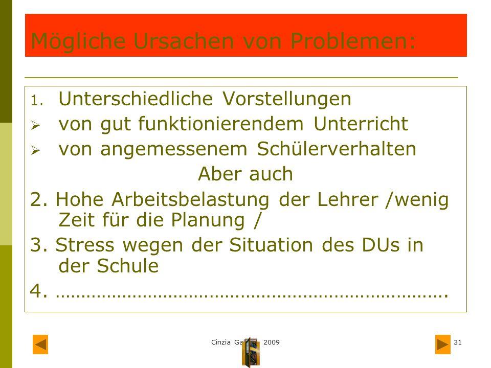 Mögliche Ursachen von Problemen: