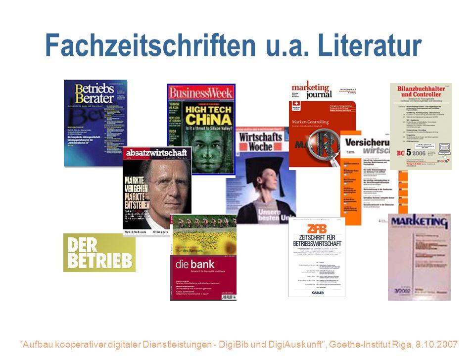 Fachzeitschriften u.a. Literatur