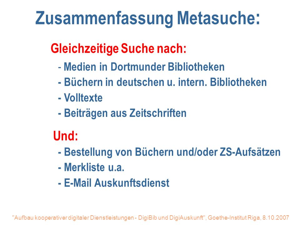 Zusammenfassung Metasuche: