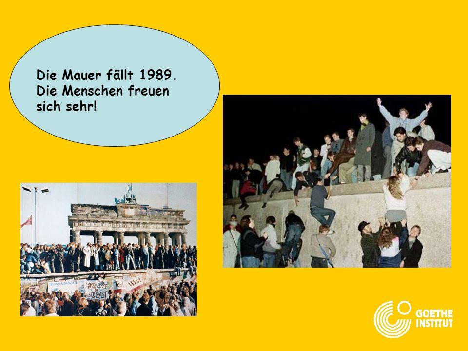 Die Mauer fällt 1989. Die Menschen freuen sich sehr!