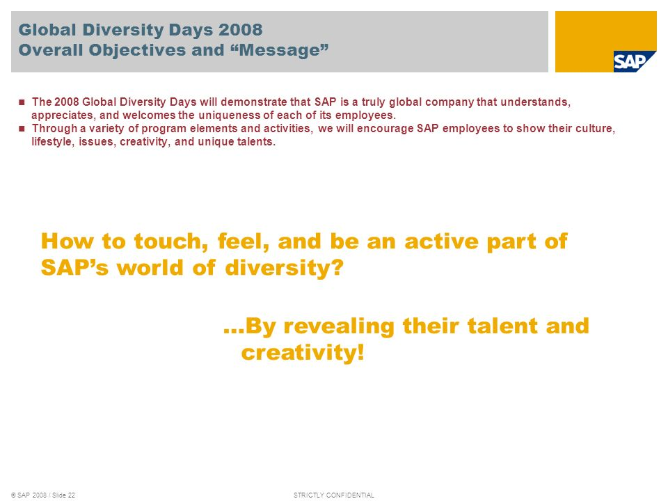 Global Diversity Days 2008 Overall Objectives and Message