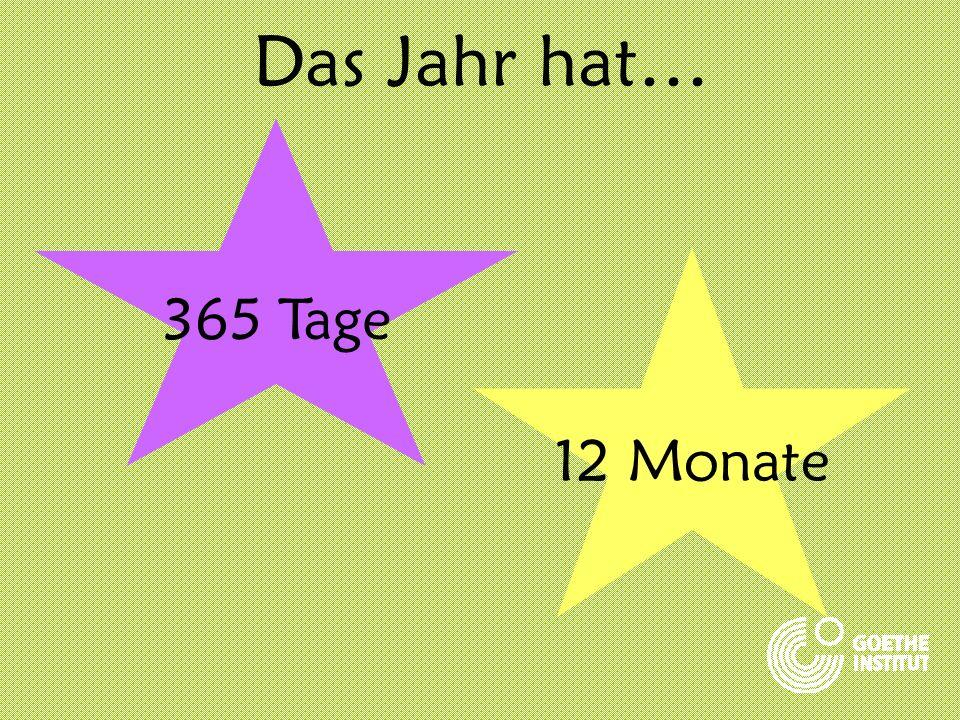 Das Jahr hat… 365 Tage 12 Monate