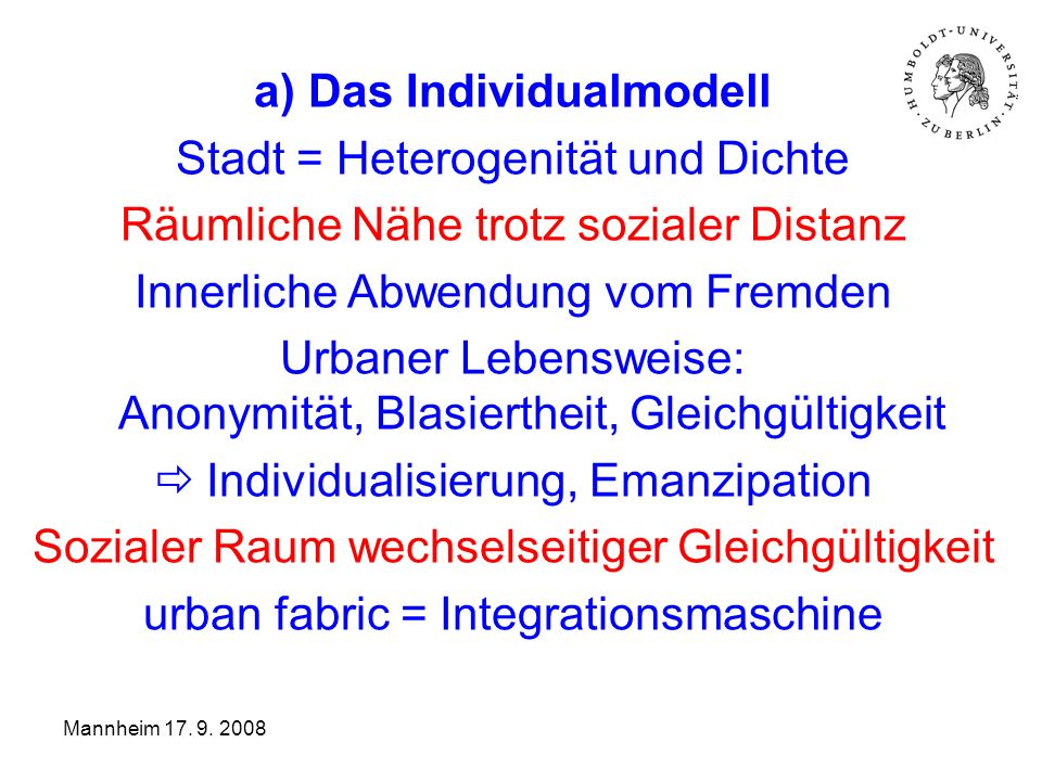 a) Das Individualmodell