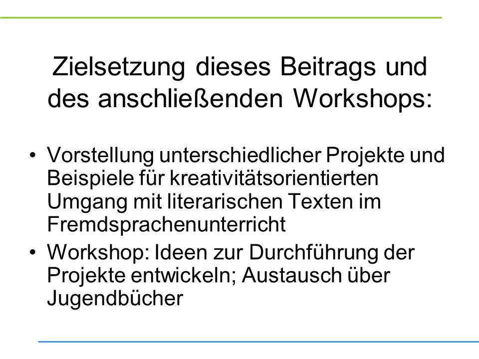 Zielsetzung dieses Beitrags und des anschließenden Workshops:
