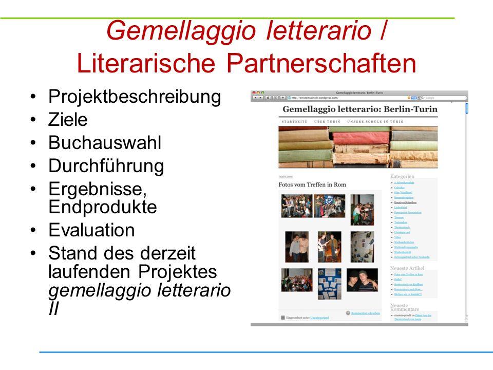 Gemellaggio letterario / Literarische Partnerschaften