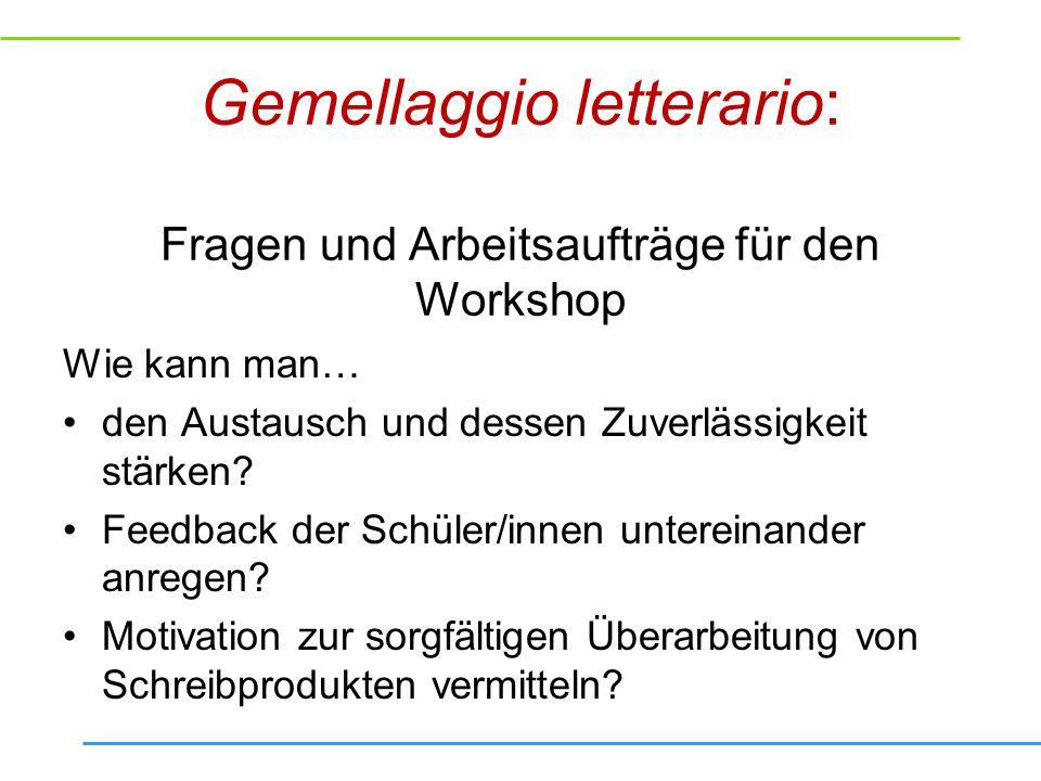Gemellaggio letterario: Fragen und Arbeitsaufträge für den Workshop