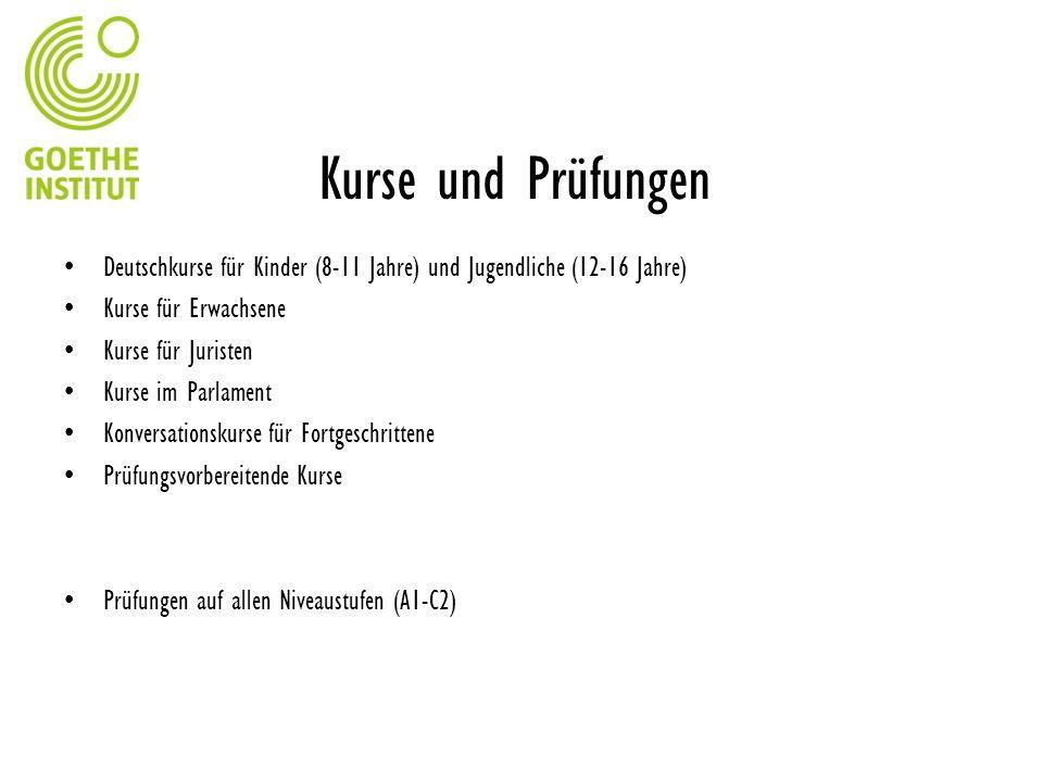Kurse und Prüfungen Deutschkurse für Kinder (8-11 Jahre) und Jugendliche (12-16 Jahre) Kurse für Erwachsene.