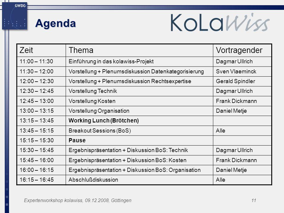 Agenda Zeit Thema Vortragender 11:00 – 11:30