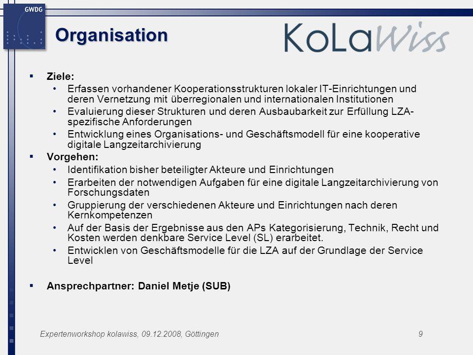 Organisation Ziele: