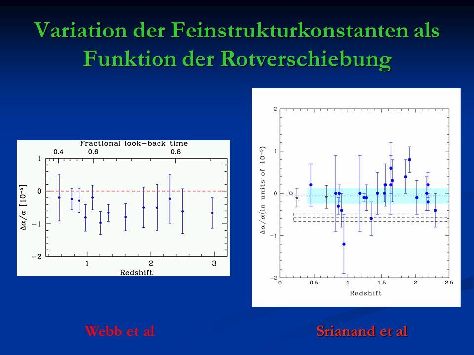 Variation der Feinstrukturkonstanten als Funktion der Rotverschiebung