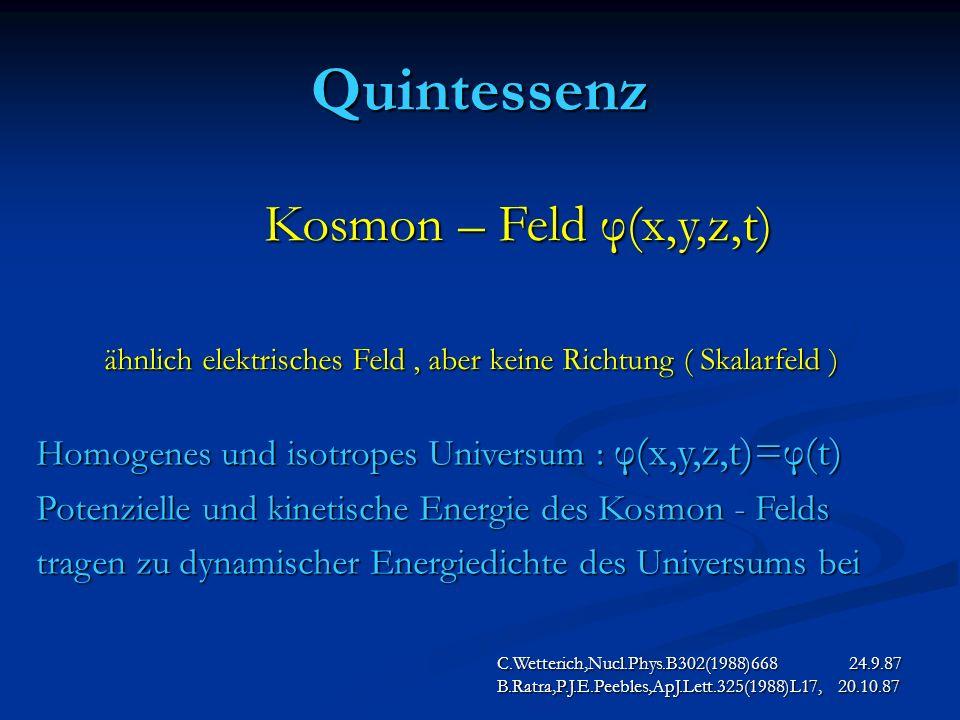 Quintessenz Kosmon – Feld φ(x,y,z,t)