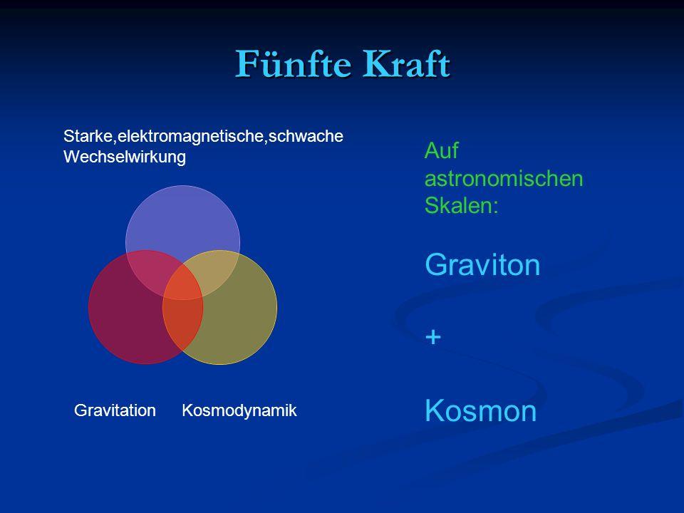 Fünfte Kraft Graviton + Kosmon Auf astronomischen Skalen: