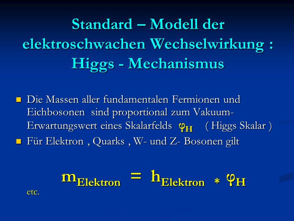 Standard – Modell der elektroschwachen Wechselwirkung : Higgs - Mechanismus