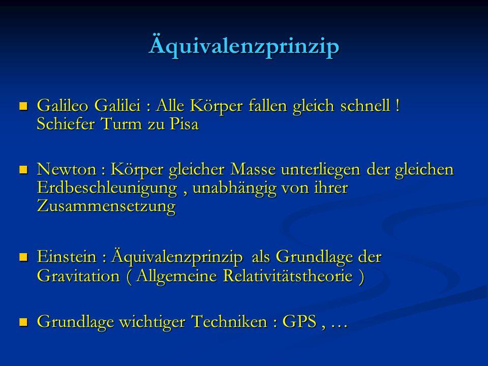 Äquivalenzprinzip Galileo Galilei : Alle Körper fallen gleich schnell ! Schiefer Turm zu Pisa.