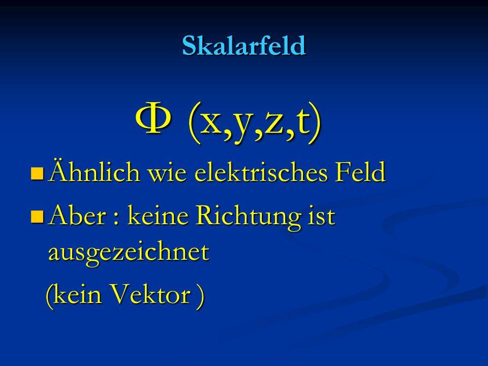 Skalarfeld Φ (x,y,z,t) Ähnlich wie elektrisches Feld.