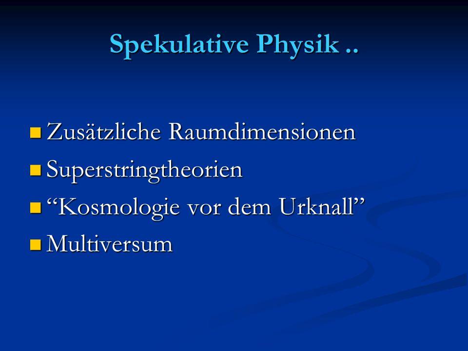Spekulative Physik .. Zusätzliche Raumdimensionen Superstringtheorien