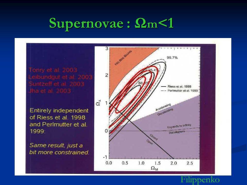 Supernovae : Ωm<1 Filippenko