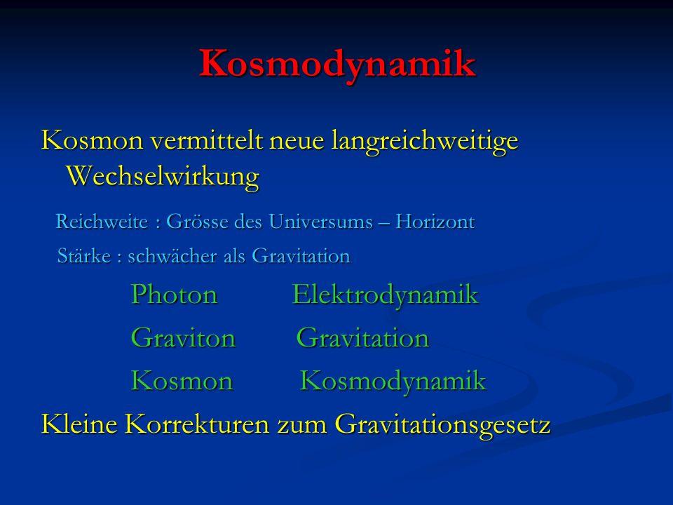 Kosmodynamik Kosmon vermittelt neue langreichweitige Wechselwirkung