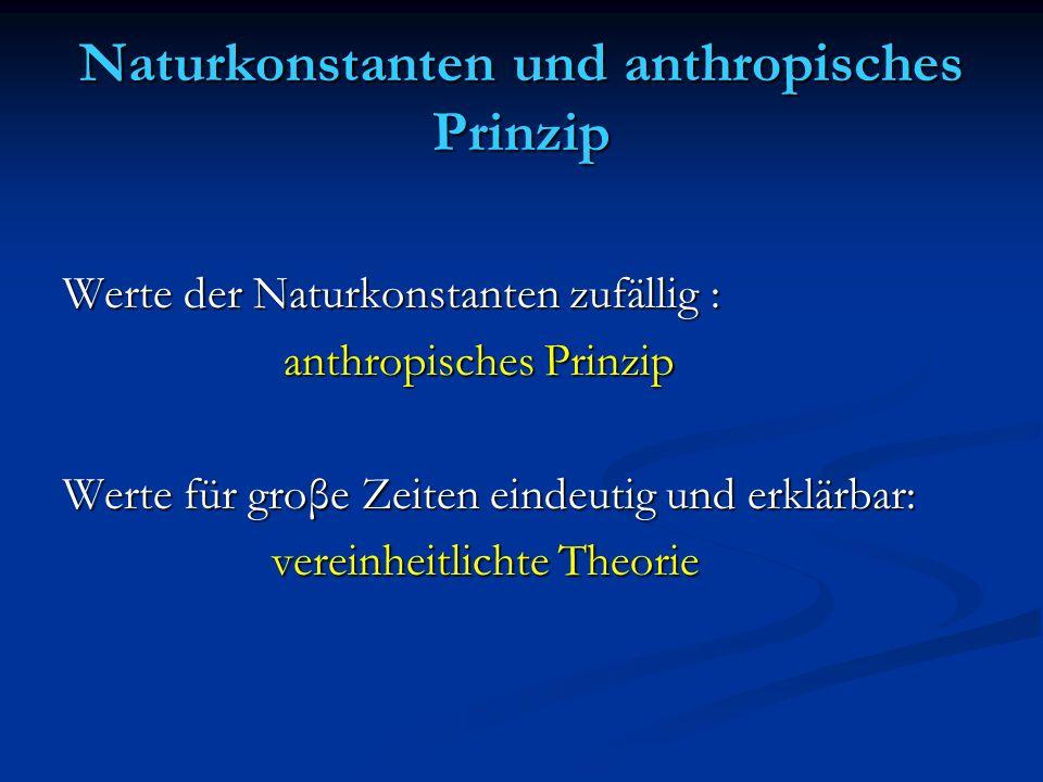 Naturkonstanten und anthropisches Prinzip