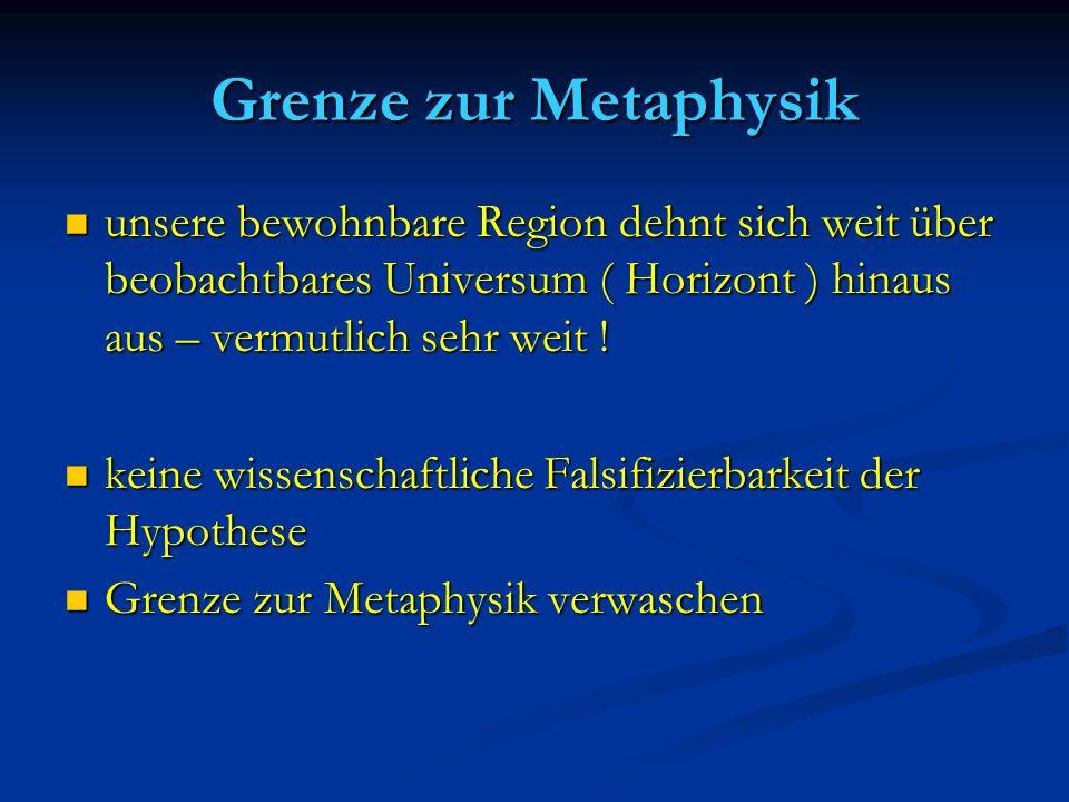 Grenze zur Metaphysik unsere bewohnbare Region dehnt sich weit über beobachtbares Universum ( Horizont ) hinaus aus – vermutlich sehr weit !