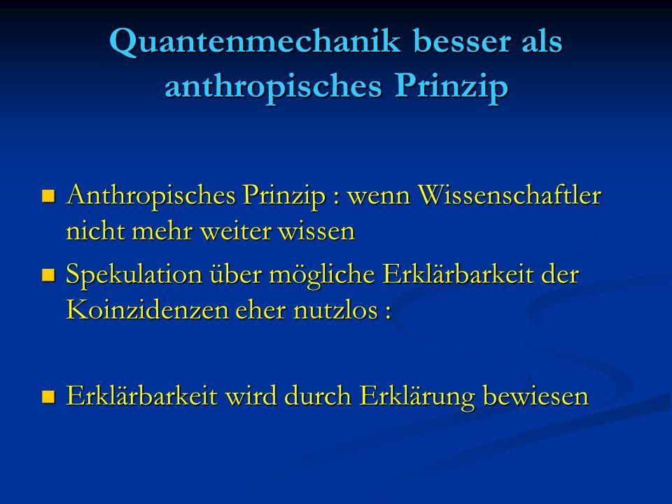 Quantenmechanik besser als anthropisches Prinzip