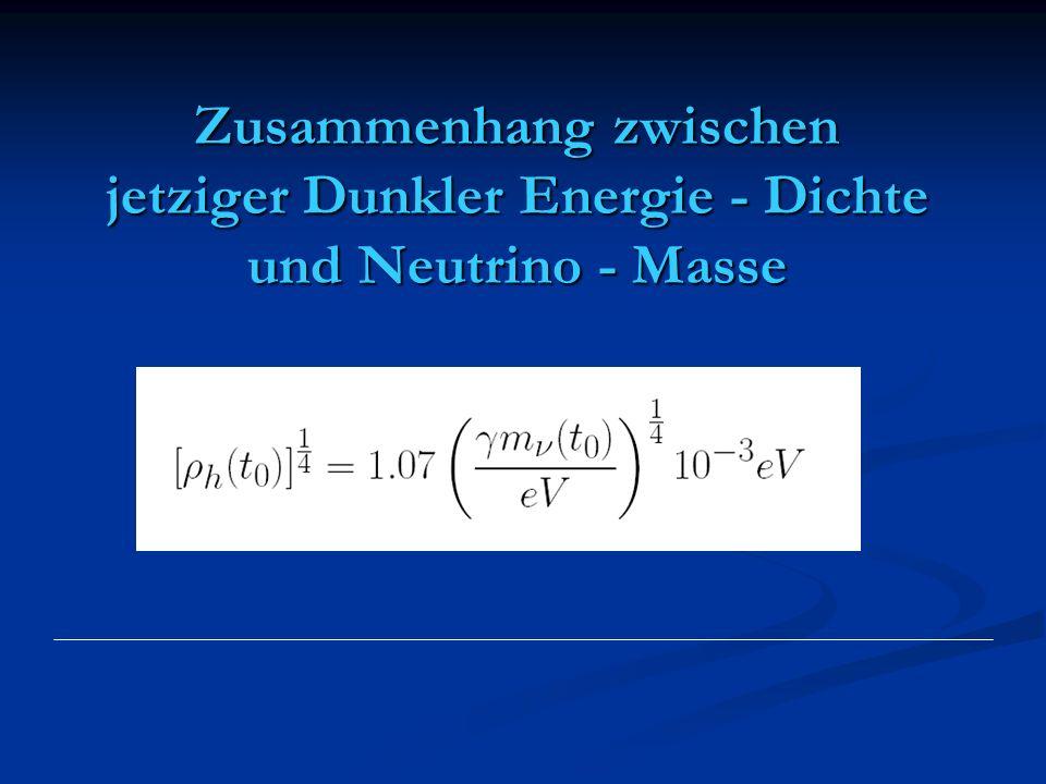 Zusammenhang zwischen jetziger Dunkler Energie - Dichte und Neutrino - Masse