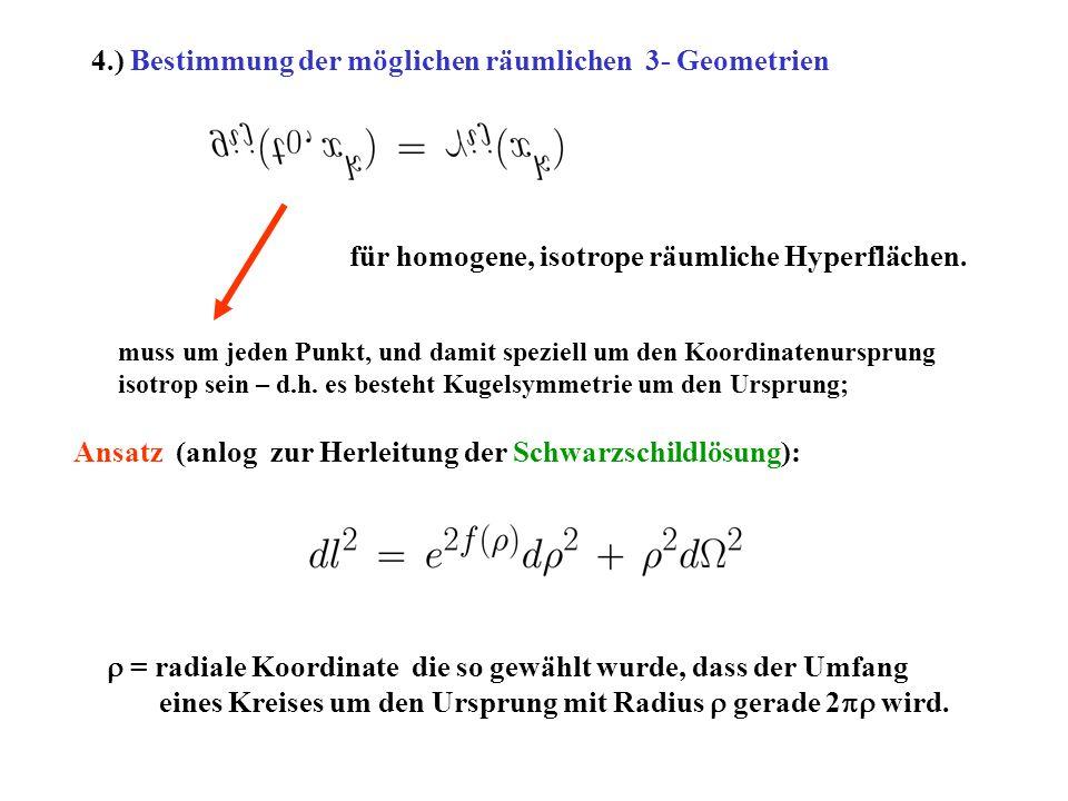 4.) Bestimmung der möglichen räumlichen 3- Geometrien