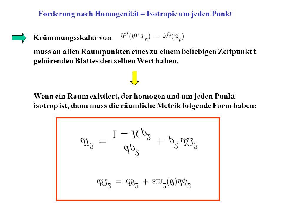 Forderung nach Homogenität = Isotropie um jeden Punkt