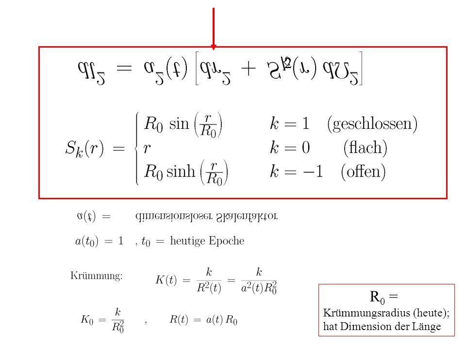 2 R0 = Krümmungsradius (heute); hat Dimension der Länge