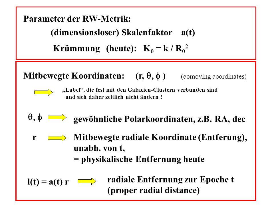 Parameter der RW-Metrik: