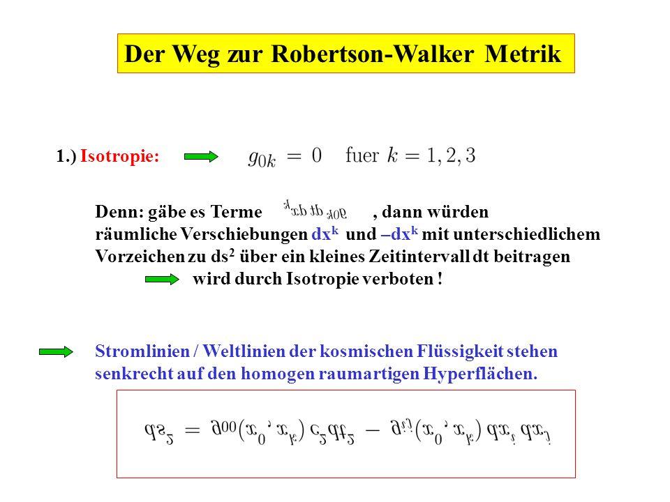 Der Weg zur Robertson-Walker Metrik
