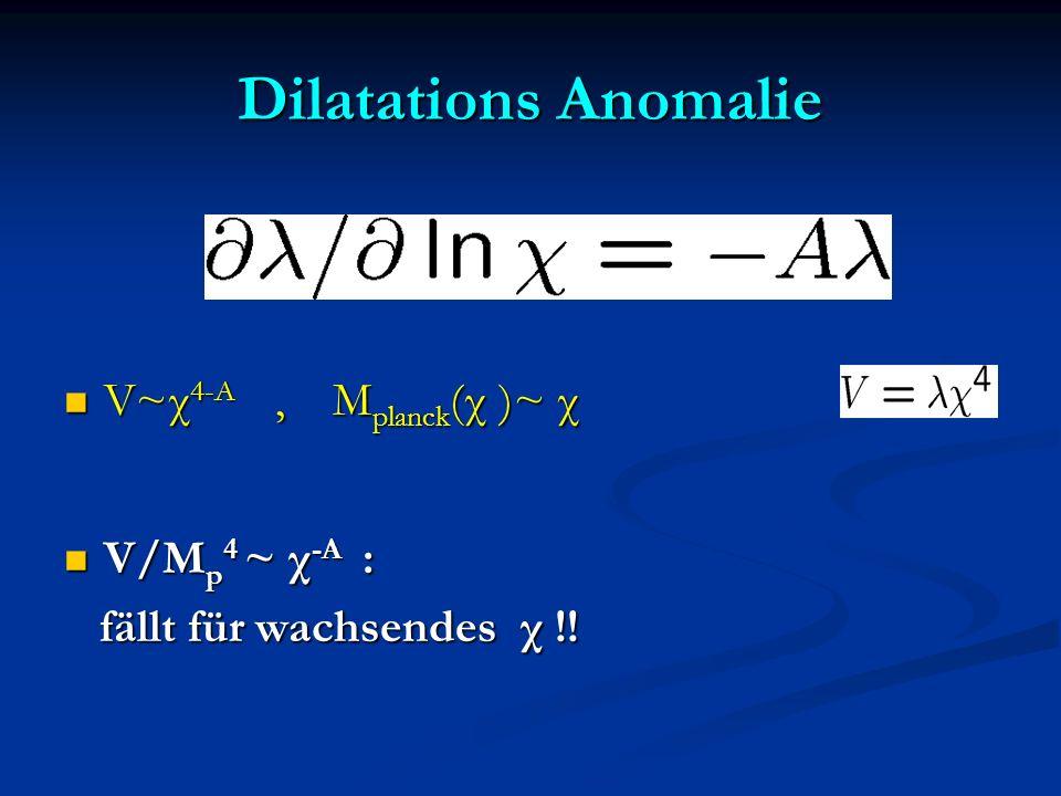 Dilatations Anomalie V~χ4-A , Mplanck(χ )~ χ V/Mp4 ~ χ-A :