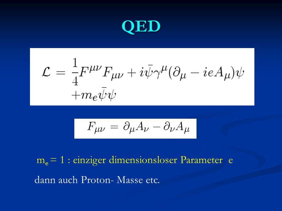 QED me = 1 : einziger dimensionsloser Parameter e