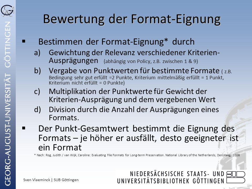 Bewertung der Format-Eignung