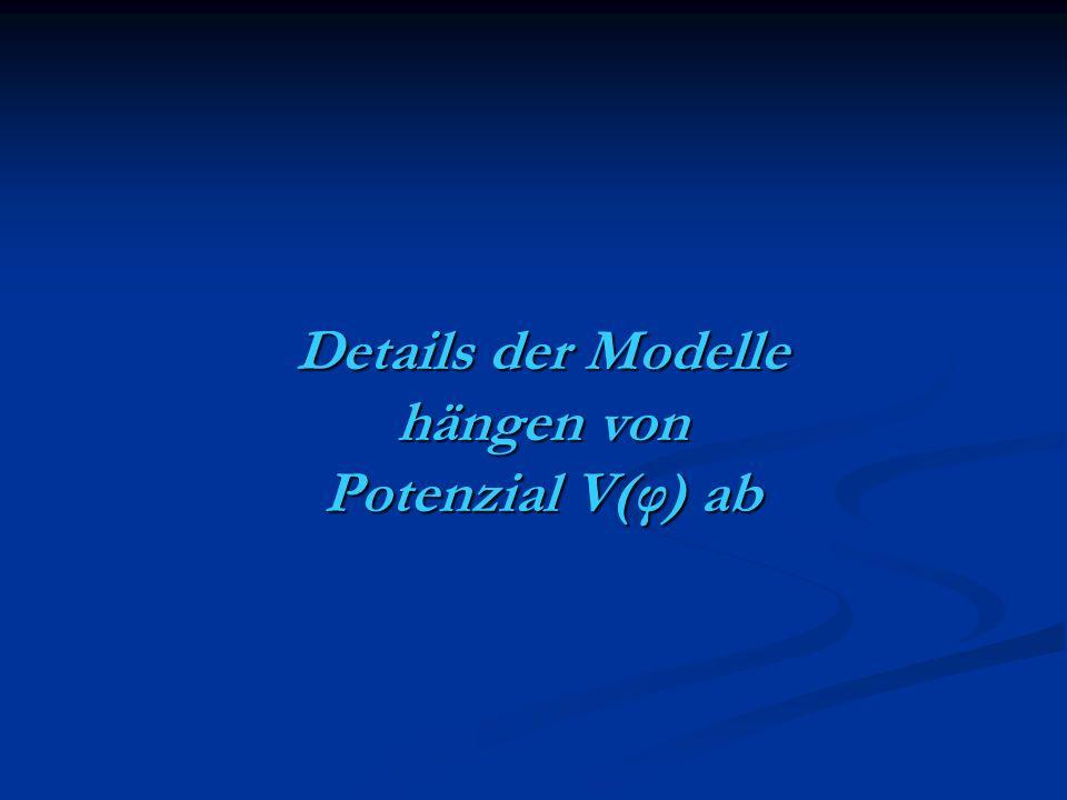 Details der Modelle hängen von Potenzial V(φ) ab
