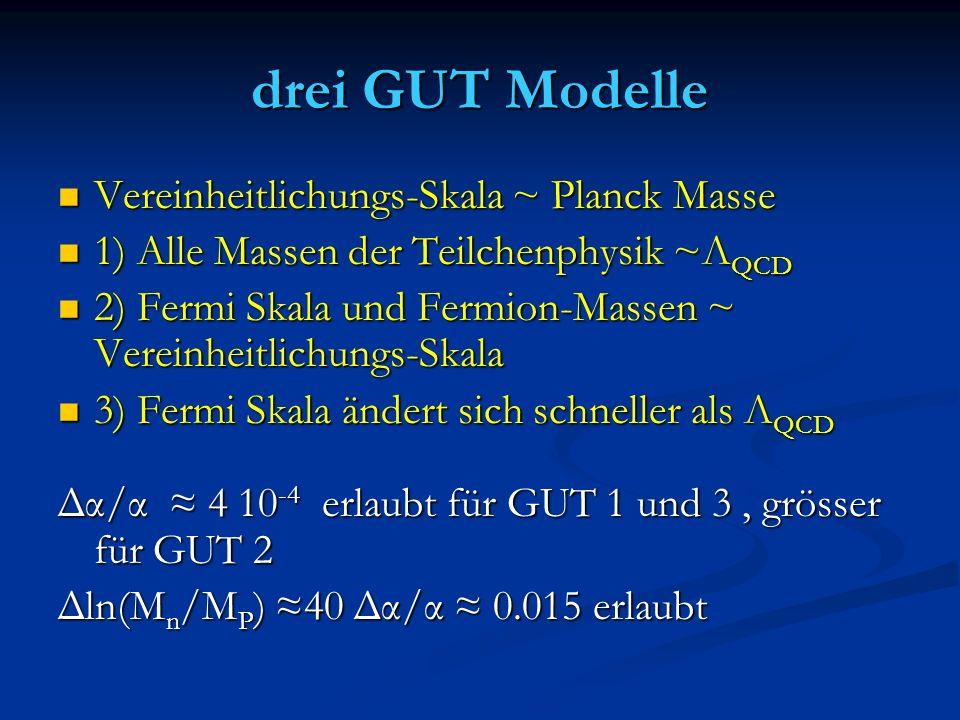 drei GUT Modelle Vereinheitlichungs-Skala ~ Planck Masse