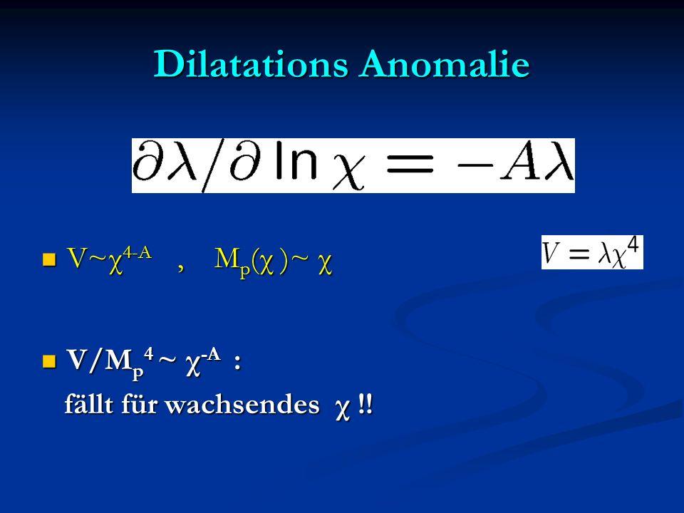 Dilatations Anomalie V~χ4-A , Mp(χ )~ χ V/Mp4 ~ χ-A :