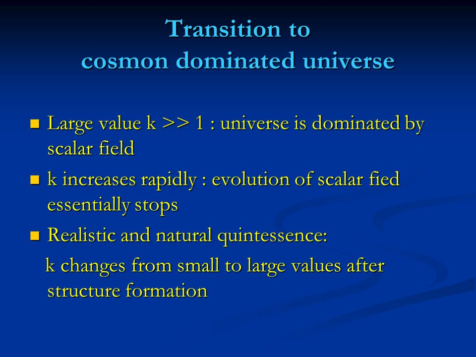 Transition to cosmon dominated universe