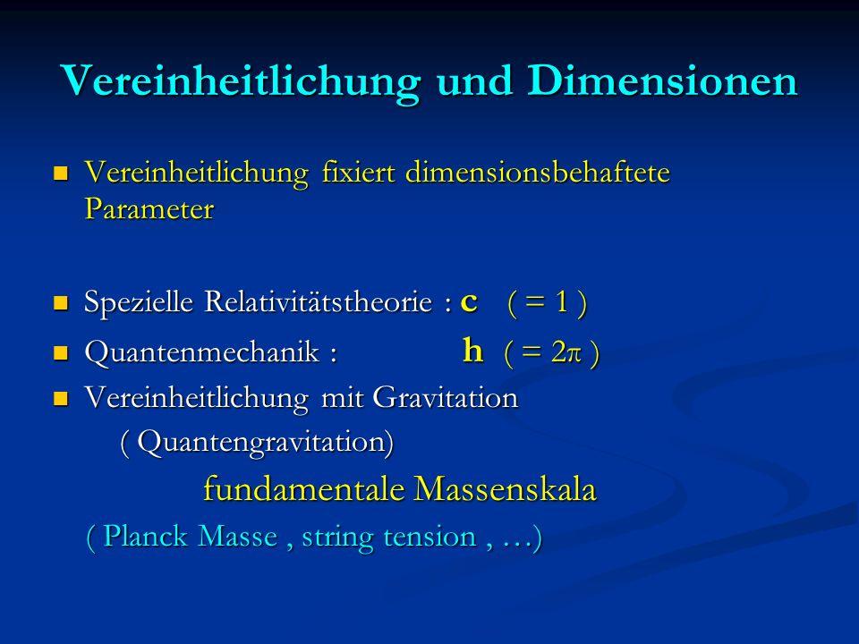 Vereinheitlichung und Dimensionen