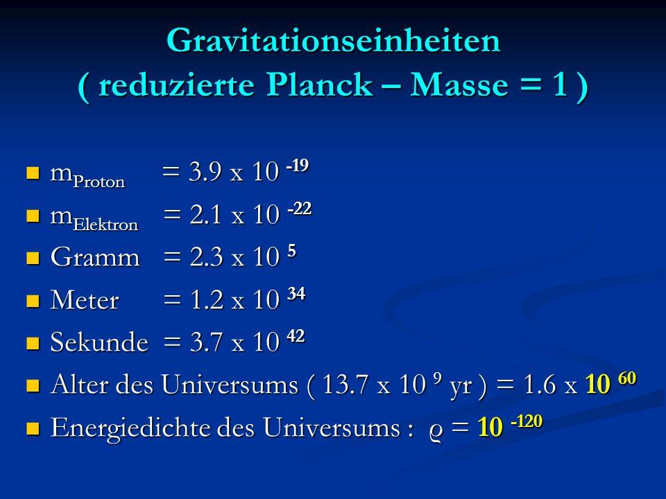Gravitationseinheiten ( reduzierte Planck – Masse = 1 )