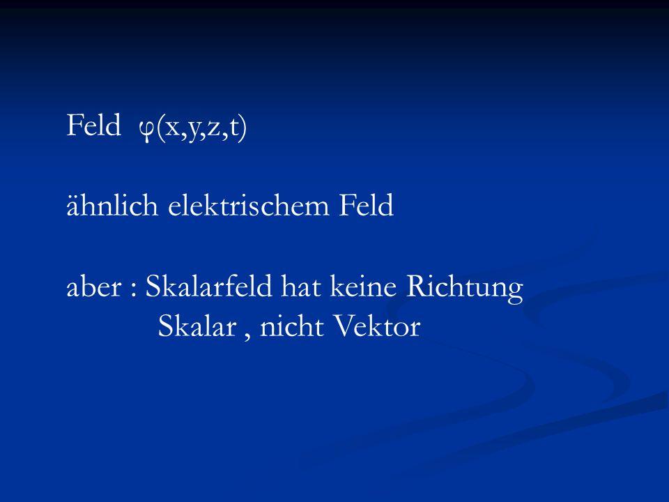 Feld φ(x,y,z,t) ähnlich elektrischem Feld. aber : Skalarfeld hat keine Richtung.