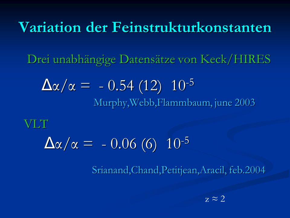 Variation der Feinstrukturkonstanten