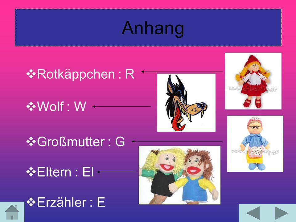 Anhang Rotkäppchen : R Wolf : W Großmutter : G Eltern : El