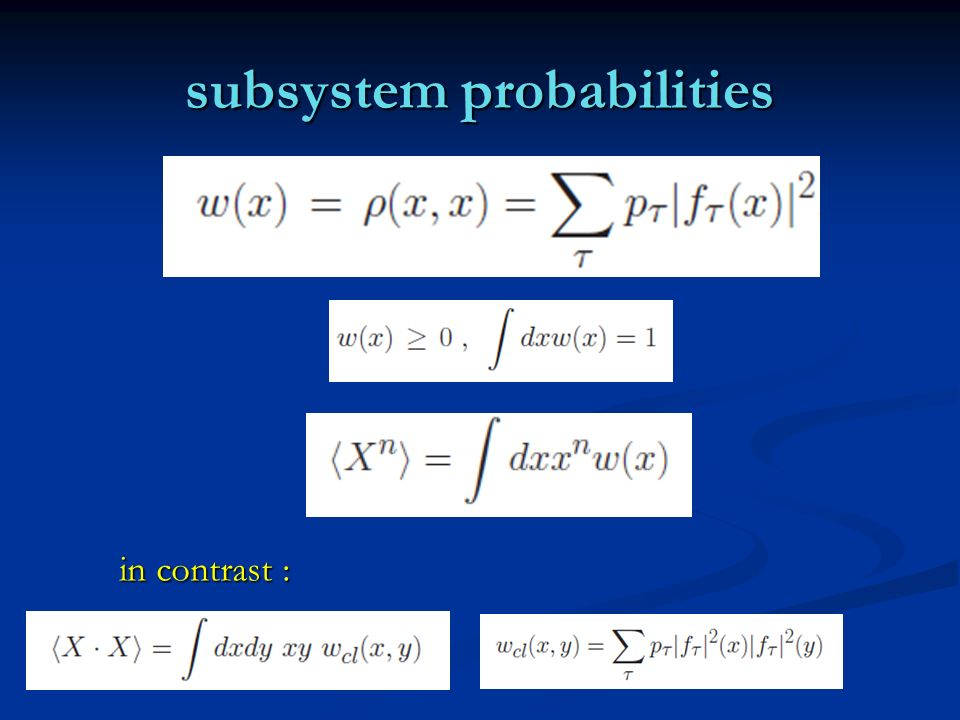 subsystem probabilities