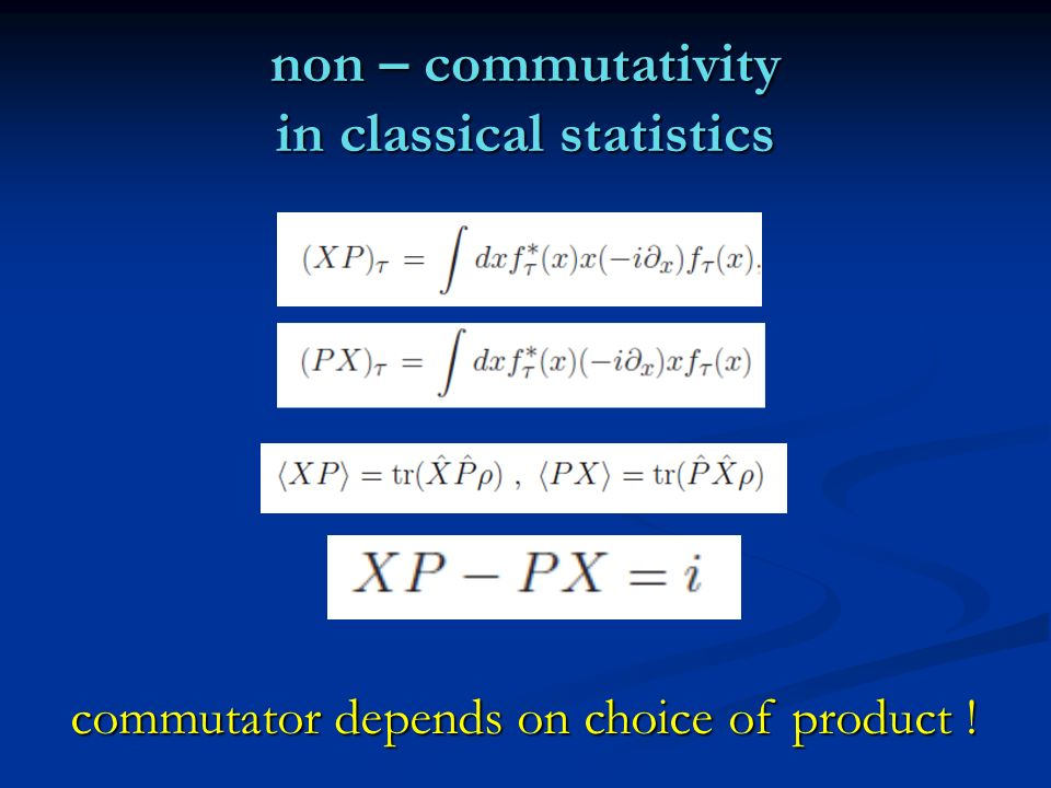 non – commutativity in classical statistics