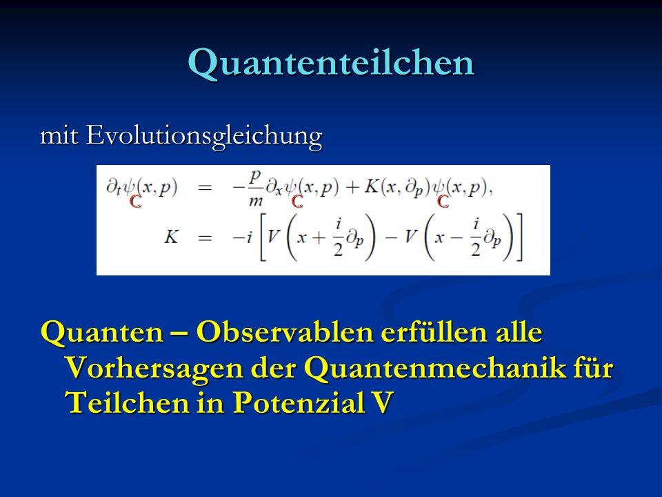 Quantenteilchen mit Evolutionsgleichung. Quanten – Observablen erfüllen alle Vorhersagen der Quantenmechanik für Teilchen in Potenzial V.