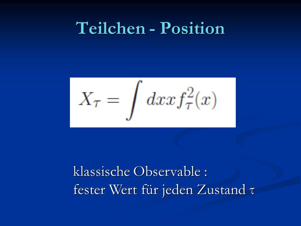 Teilchen - Position klassische Observable :
