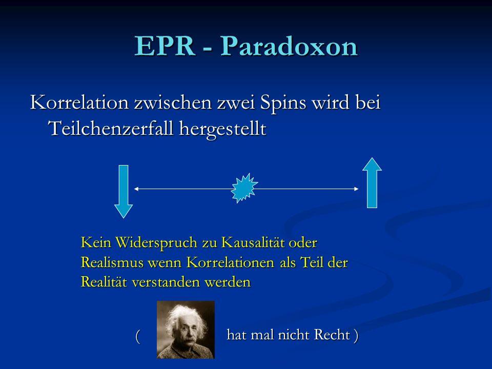 EPR - ParadoxonKorrelation zwischen zwei Spins wird bei Teilchenzerfall hergestellt. Kein Widerspruch zu Kausalität oder.